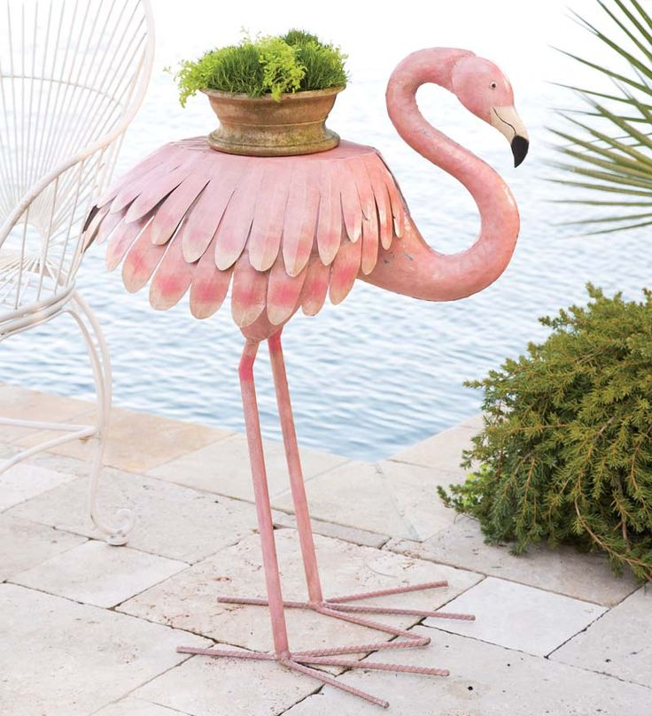 Handcrafted Pink Flamingo Side Table