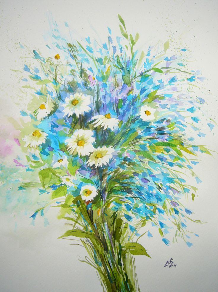"""""""Blue Bouquet 17"""",Watercolor by Gabriela Calinoiu"""