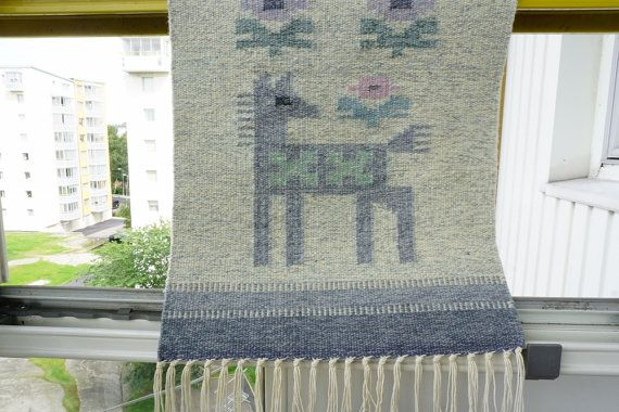 Swedish Wool Tapestry Lovely Dog Wool Wall by ScandicDiscovery