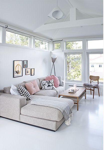 light living room beige sofa pink cusihons