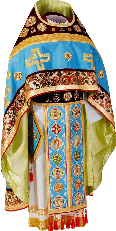 Blue Russian-Style Priest Vestment http://catalog.obitel-minsk.com/oblachenie-ierejskoe-russkoe-3.html#!prettyPhoto Fabric: blue reps, velvet and tapestry. #Orthodox #Orthodoxy #Priest #Vestments #Russian-Style #Church #Handmade #Priest