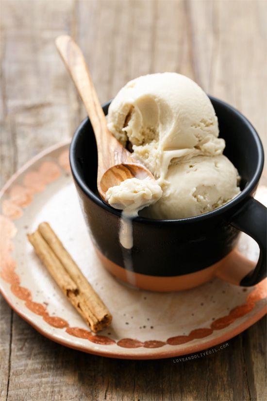 horchata ice cream w/ long grain white rice (i.e. basmati), ceylon (mexican) cinnamon, blanched almonds, sweetened condensed milk, egg yolk + cornstarch