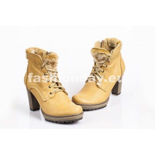 Zimné kožené topánky - FARBA PIESKU - fashionday.eu