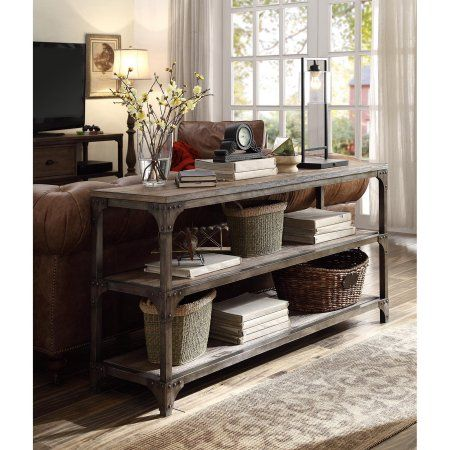 Acme Gorden TV Stand for TVs up to 55 inch, Weathered Oak and Antique Silver, Brown