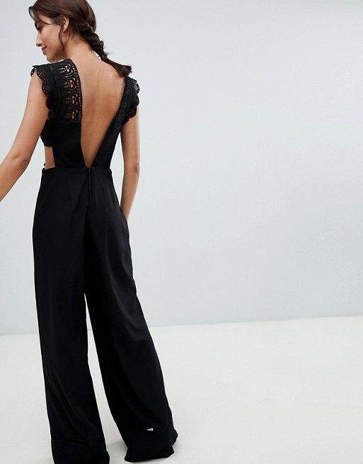 fb41cf7027b DESIGN Lace Top Jumpsuit With Wide Leg in 2019