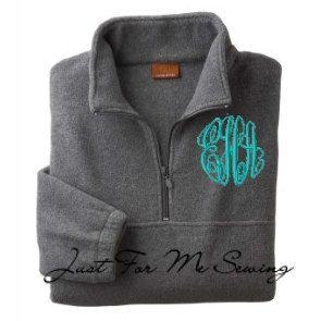 Monogrammed Halfzip pullover jacket.GIVEMENOW