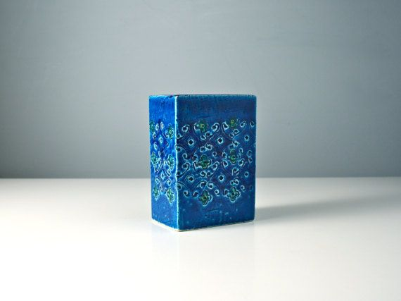 Bitossi blue slab vase. Square Spagnolo pottery by AnEyeOnStyle