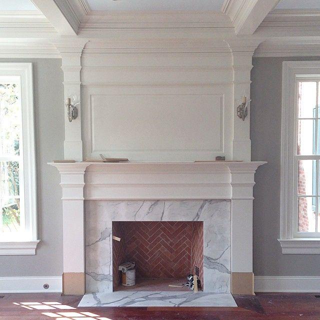 New fireplace surround just installed! #progress #interiordesign #newhouse #architecture #tgif