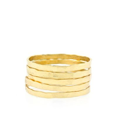 Judtith Bright Set of 5 Hammered Stacking Bands $63