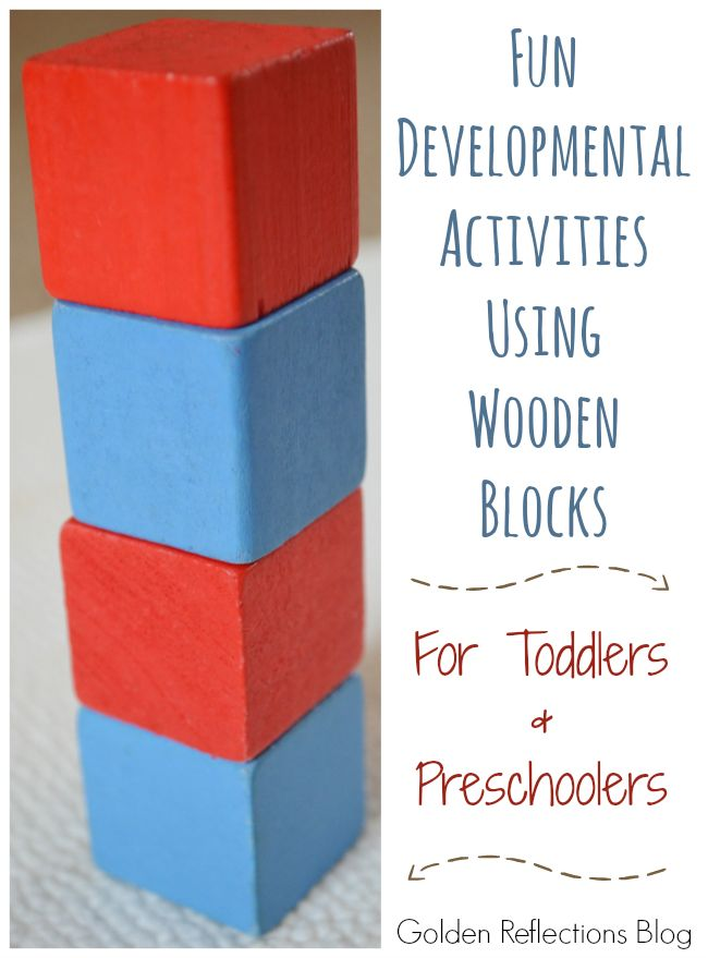 Some fun ideas for developmental activities with blocks for toddlers and preschoolers.