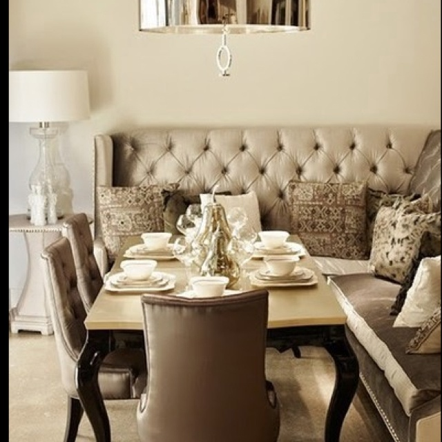 33 best dining room images on pinterest couches dining for Dining room table with couch