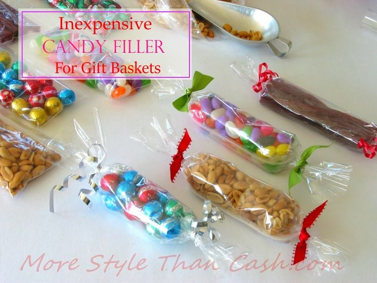 Inexpensive Candy Fillers for gift baskets. An great cheap way to fill up a basket that looks great!