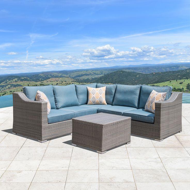 Corvus Martinka 6-piece Grey Wicker Outdoor Furniture Set (MS102), Blue, Size 6-Piece Sets, Patio Furniture (Aluminum)