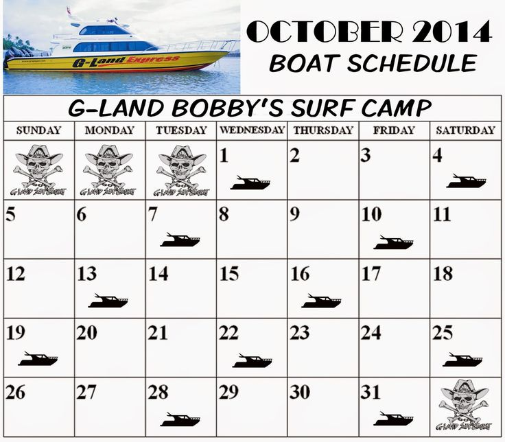 Boat Schedule October 2014