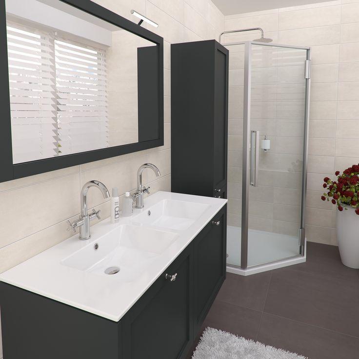 Bruynzeel fano 120 cm nachtzwart met keramische wastafel for Cabinet de salle de bain
