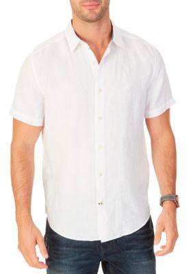 Nautica Men's Short Sleeve Linen Shirt - Bright White - 2Xl