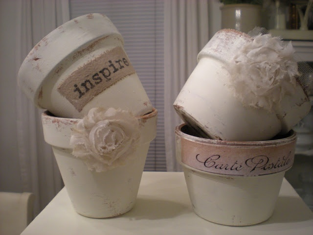 """Shabby Chic pots - """"painted haphazardly white, letting the terra cotta show through"""
