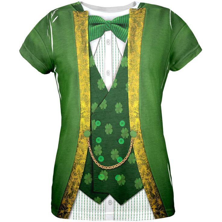 St. Patricks Day Leprechaun Costume All Over Womens T-Shirt
