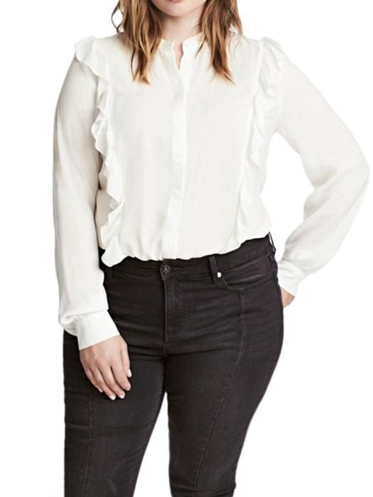 11f82222d1c568 Plus Size Ruffle Detailed White Blouse Top  16.99