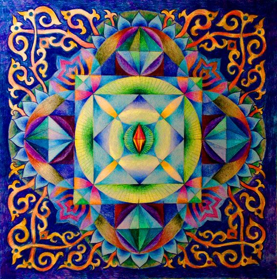 Om mani padme hum Mantra Mandala, Print on Canvas , Wall Decor Healing Crystals…