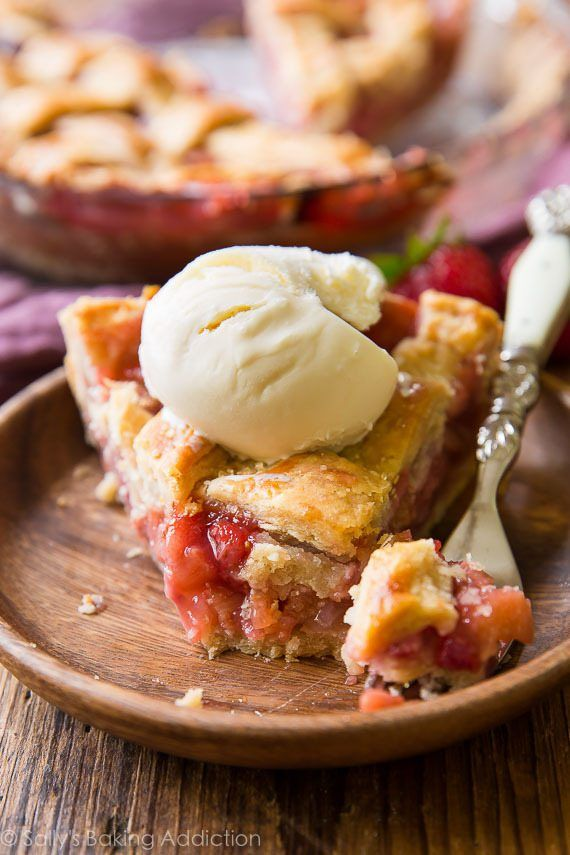 This recipe turned me into a strawberry rhubarb pie fanatic! The pie holds together nicely and the homemade pie crust is phenomenal!