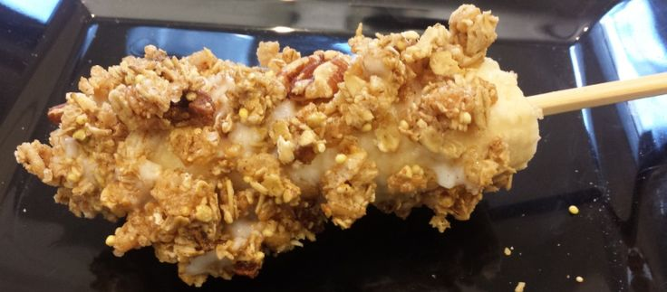 Banana Granola Roll Pop | Easy, Nutritious, Skinny Treat  | For MORE RECIPES please SIGN UP for our FREE NEWSLETTER NutritionTwins.com | Made with @kindsnacks #client