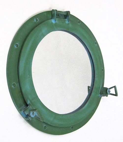 High Quality Aluminum Green Finish Ships Porthole Mirror Round With Free Shipping!