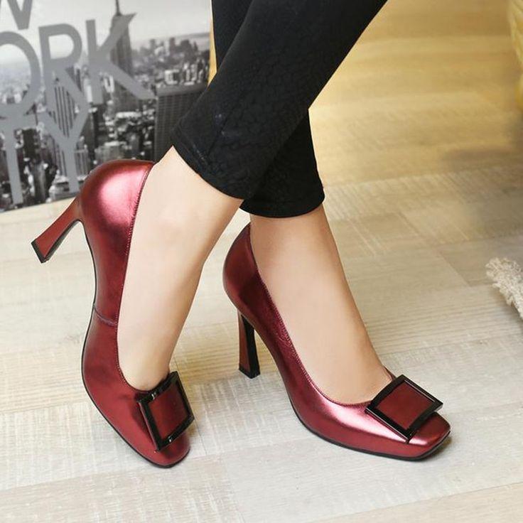 Европа Последние стили Женские высокие каблуки Квадратная голова мелкая рот кожаные ботинки Моды свадебные туфли насосы boty ayakkab
