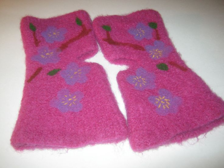 Ladies Fingerless Texting Hand-warmers, Felted, Knit Gift, Blossom Floral, Orchid, Brown, Green, Purple Floral, READY TO SHIP by KnitIdea on Etsy