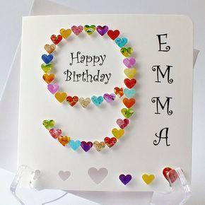 25 + › 9. Geburtstagskarte – Handmade Age 9 Karte – handgemachte 3D-Karte für junge oder Mädchen Regenbogen bunt (BHA09) personalisiert