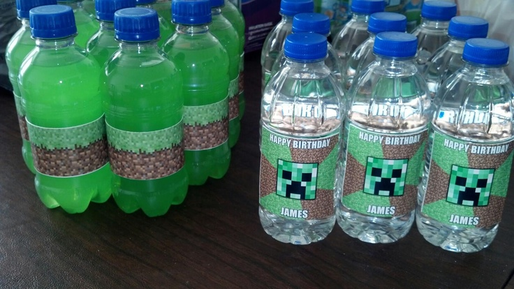 got the grass on the green drinks from http://www.thepartyanimal-blog.org/?s=minecraft. I used the cupcake wraps and trimmed them down a bit. The green drink is Hawaiian Punch Green Berry and you can find it at Walmart. I also got the small bottles of water from Walmart and used this meme genarator to make the image and printed them on photo paper to business card size, I was able to print off 9 to a sheet.  http://memegenerator.net/memes/search?q=minecraft