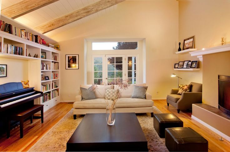 Built in around piano basement small living room - Small living room arrangement pictures ...