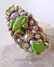 Gary G Frog Cuff Bracelet by Deleon | Mojave Green Kingman Turquoise carved frogs | Schaef Designs Turquoise Southwestern Jewelry |  San Diego CA