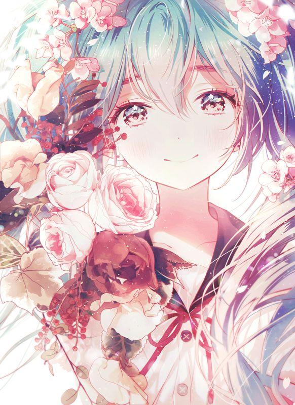 [ http://www.zerochan.net/1987927 ]  Miku Hatsune | Flowers