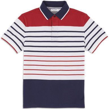 Slim Fit Pieced Stripe Polo Shirt - Bright White