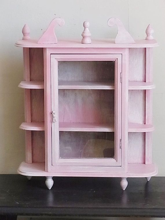 Shabby Chic Curio Cabinet Pink And White Wall Hanging Or Tabletop Home Pinterest