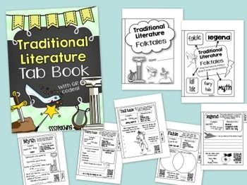 TRADITIONAL LITERATURE FOLKTALES INTERACTIVE TAB BOOK WITH QR CODES - TeachersPayTeachers.com