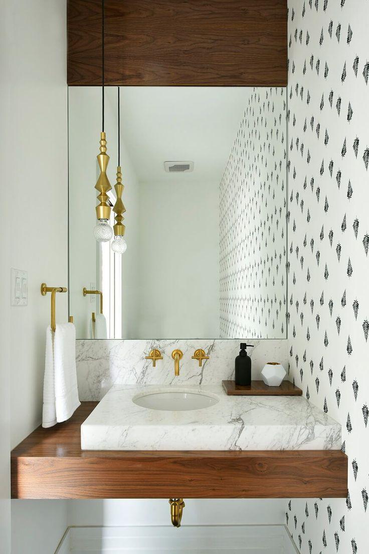 Modern Marble And Teakwood Asymmetrical Sink Counter Stunning