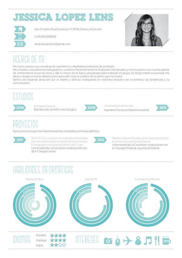 Resumen Grafico Cv By Jessica Lopez Lens Via Behance Resume Design Creative Resume Design Inspiration Creative Cv