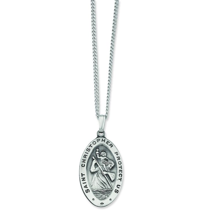 24in Rhodium-plated Large Oval St. Christopher Medal Necklace KW425