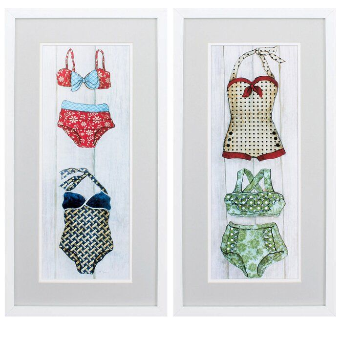 Vintage Bathing Suit 2 Piece Picture Frame Graphic Art Print Set On Paper In 2020 Vintage Bathing Suits Picture Frame Shop Art Print Set