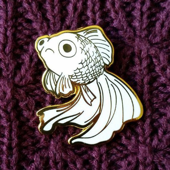 Sad Fish Hard Enamel Pin - Gold and White - Lapel Pin Cloisonné Badge - Goldfish White Telescope