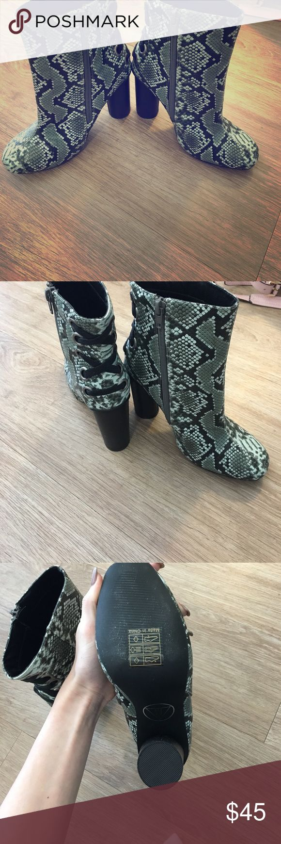 Misguided python print boots Unique laced up back python printed boots never worn, no box included misguided Shoes Heeled Boots