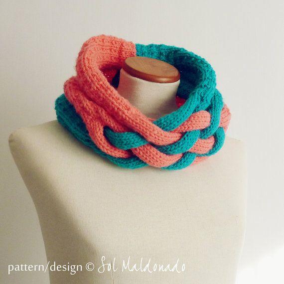 Cowl Scarf knit pattern neckwarmer Weave pdf - winter trendy cool UNISEX accessory PHOTO tutorial knitting pattern