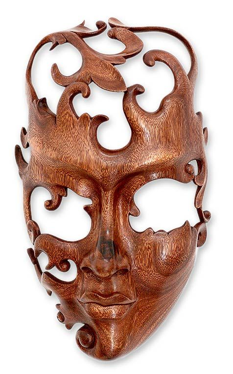 Modern Wood Mask from Indonesia - Lover | NOVICA