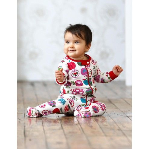 Patterned Apples Footed Coverall