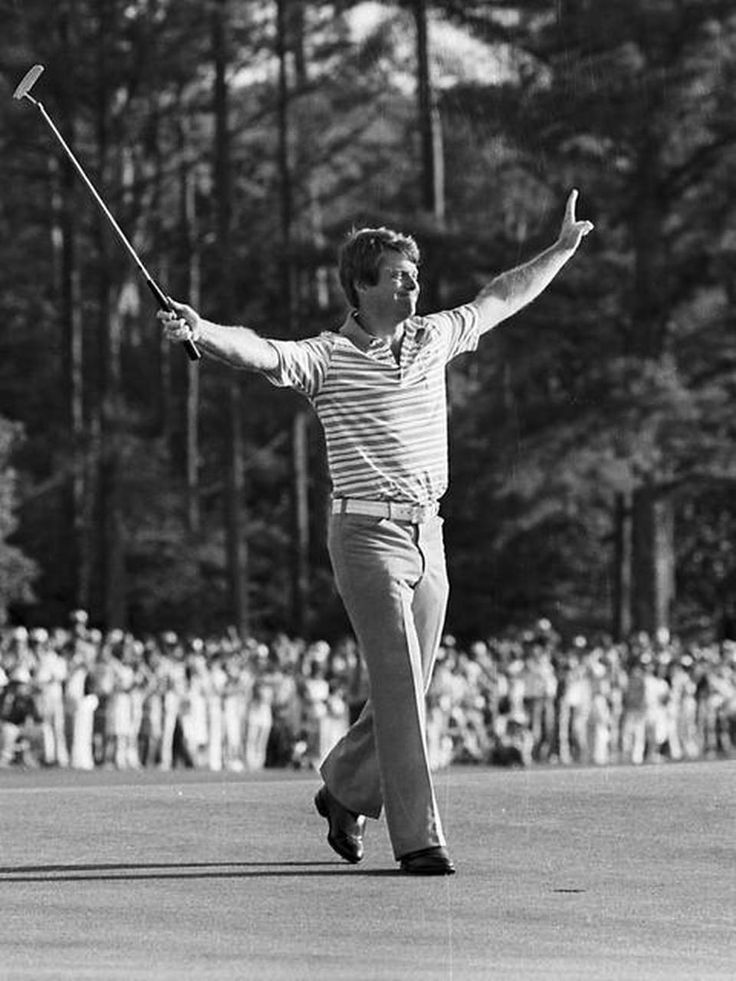 FILE: Tom Watson waves his arms on the 18th hole after winning the Masters Golf Tournament at the Augusta National Golf Club in Augusta, Ga., Sunday, April 11, 1977. Watson won with a 12 under par score for the tournament.