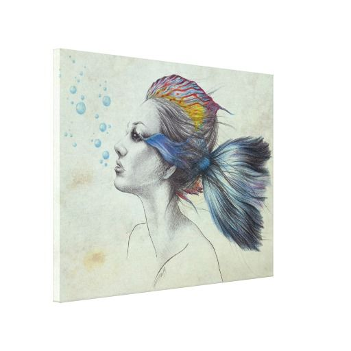 Woman fish surreal art textured Gallery Wrapped Canvas