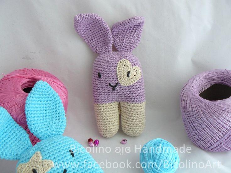 Coniglio lilla sonagli per neonati Cuoricino Doudou. #lotrovisubebuu #goochi #handmade