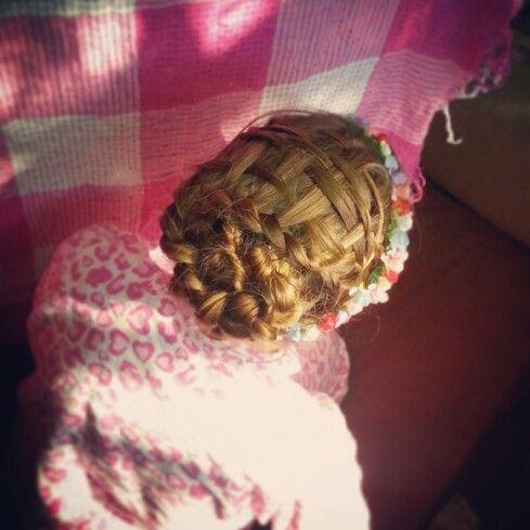 Basket weave with spiral dutch braid under. Cool hairstyles for girls.